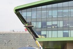 Мойка фасада и атриума в БЦ Олимпик